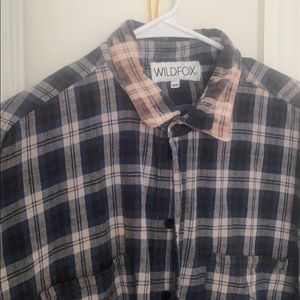 Wild fox acid wash oversized plaid shirt
